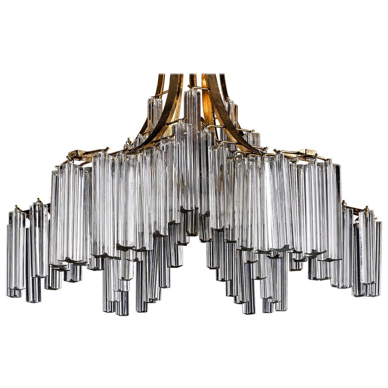 Italian Murano Clear Glass Sculptural Chandelier By Venini