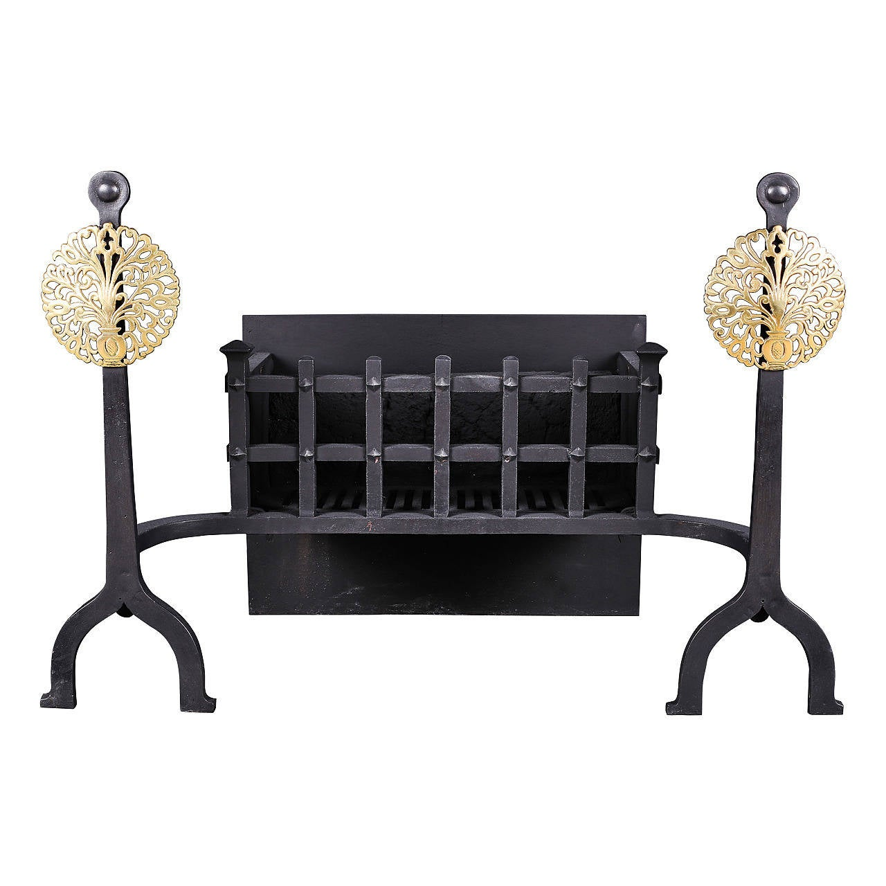 Arts And Crafts Cast Iron And Brass Antique Fire Grate For