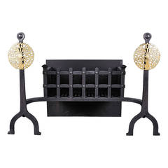 Arts & Crafts Cast Iron and Brass Antique Fire Grate