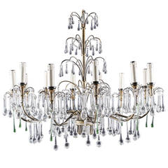 Magnificent Vintage Brass Twelve-Light Chandelier with Murano Glass Tear Drops
