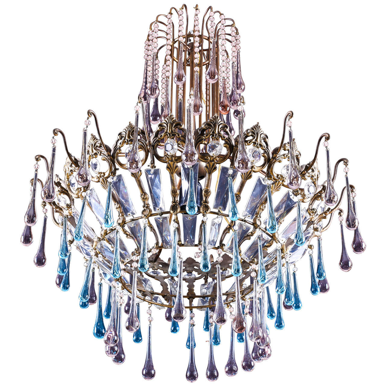 Vintage brass and crystal chandelier with murano light blue glass vintage brass and crystal chandelier with murano light blue glass tear drops for sale mozeypictures
