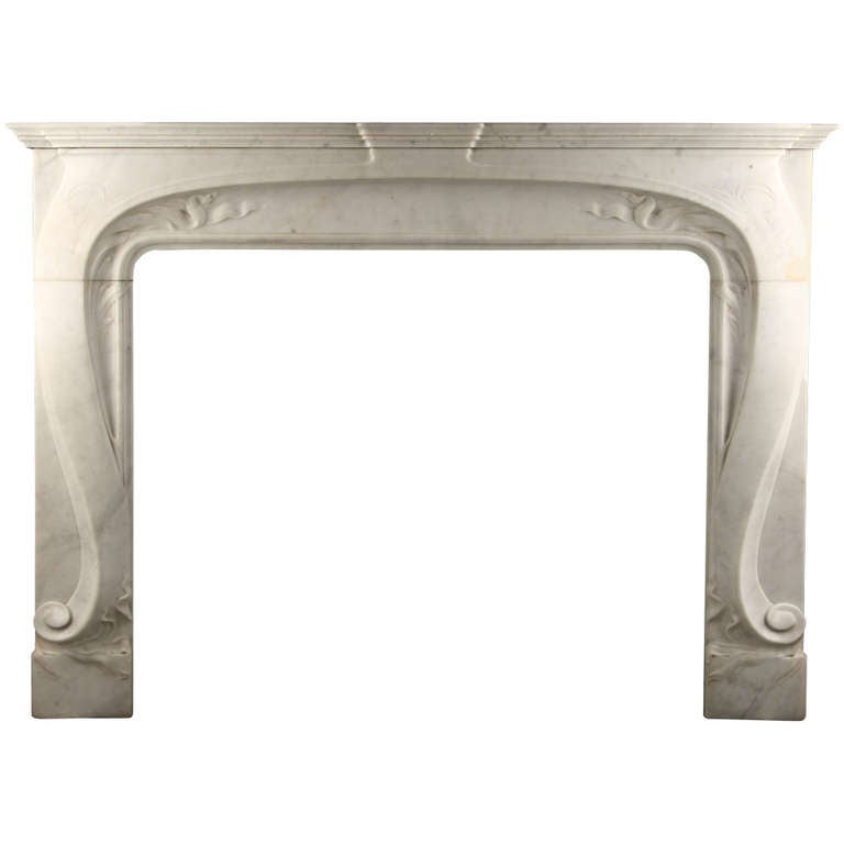 French Art Nouveau White Carrara Marble Mantelpiece