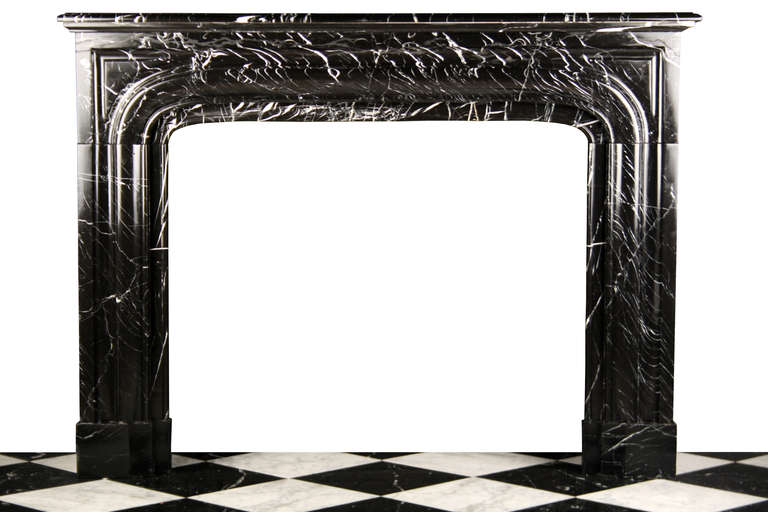 Antique Louis Xiv Fireplace Mantel In Black Marquina Marble At 1stdibs