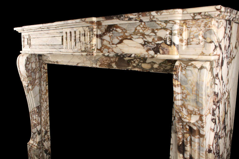 19th Century Antique French Louis XVI Fireplace Mantel in Breche Violette Marble For Sale