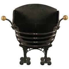 Antique Arts & Crafts Brass & Cast Iron Fire Basket