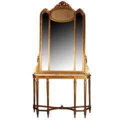 Italian 19th Century Freestanding Console with Matching Mirror