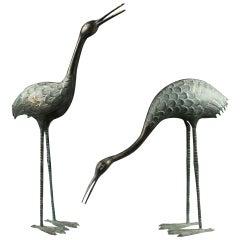 Antique Unique 19th Century Bronze Victorian Cranes
