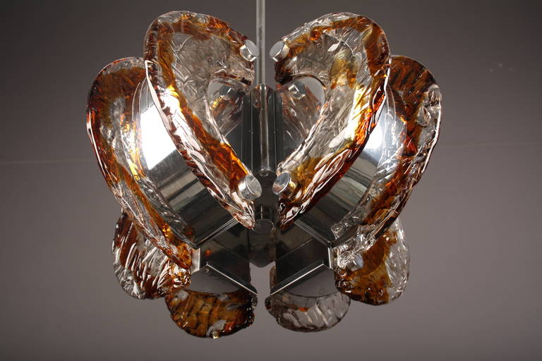 Mazzega clear and amber Murano glass chandelier, Italy, 1970s.  Glass only height: 12