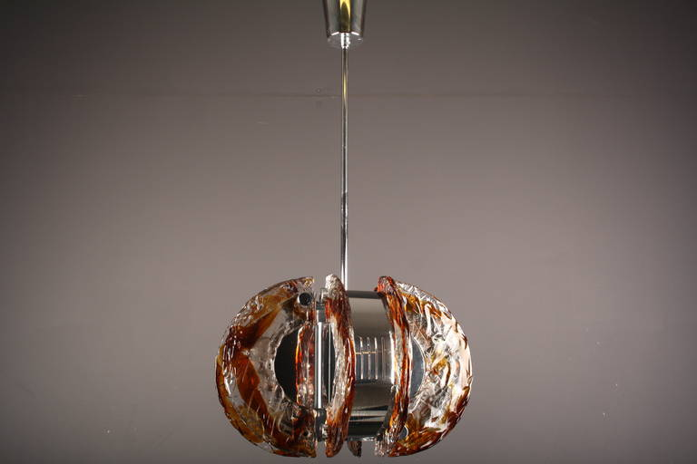 Late 20th Century Mazzega Clear and Amber Murano Glass Chandelier, Italy, 1970s For Sale