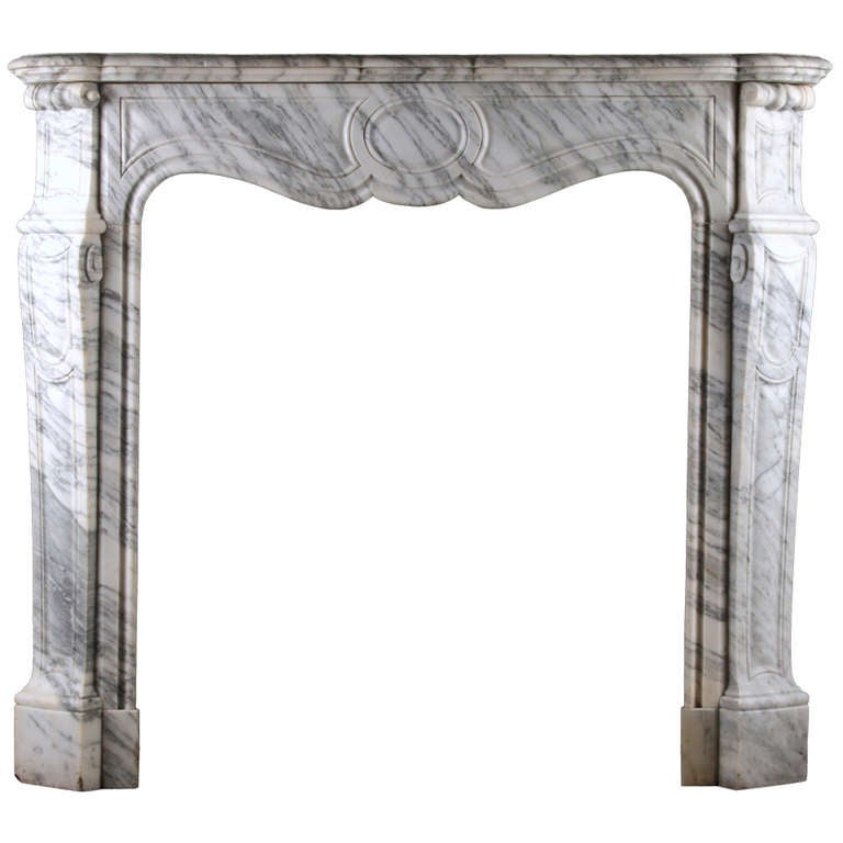 A Louis XV Pompadour Fireplace in Arabescato Marble Circa 1870