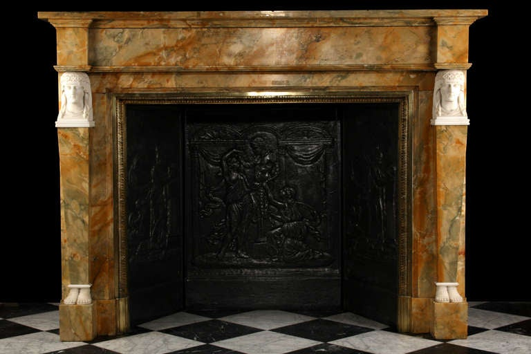 A very fine neoclassical sienna marble antique fireplace for Marble mantels for sale