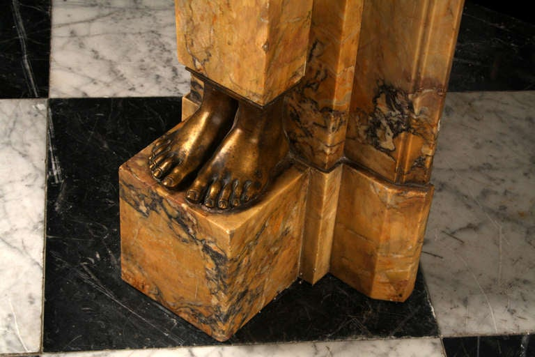 A Very Fine Neoclassical Sienna Marble And Brass Antique Fireplace For Sale At 1stdibs