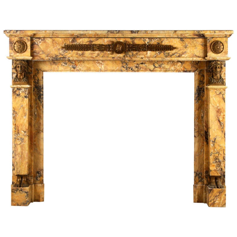 A Very Fine Neoclassical Sienna Marble and Brass Antique Fireplace