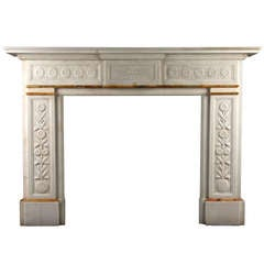 An Antique Victorian Fireplace Carved In White Statuary Marble