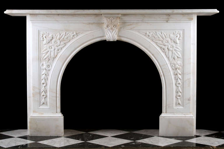 An Antique Victorian Arched Fireplace Surround In White Statuary Marble At 1stdibs