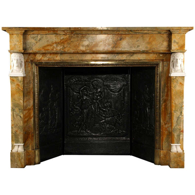 A Very Fine Neoclassical Sienna Marble Antique Fireplace