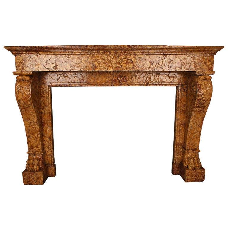 Antique Louis XVI Chimneypiece Lion Paw Fireplace