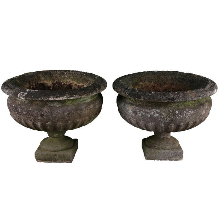 Hand Crafted Antique Victorian Stone Garden Urns