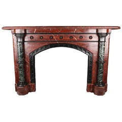 A Large Antique Regency Fireplace Mantle in Solid Rouge Griotte Marble