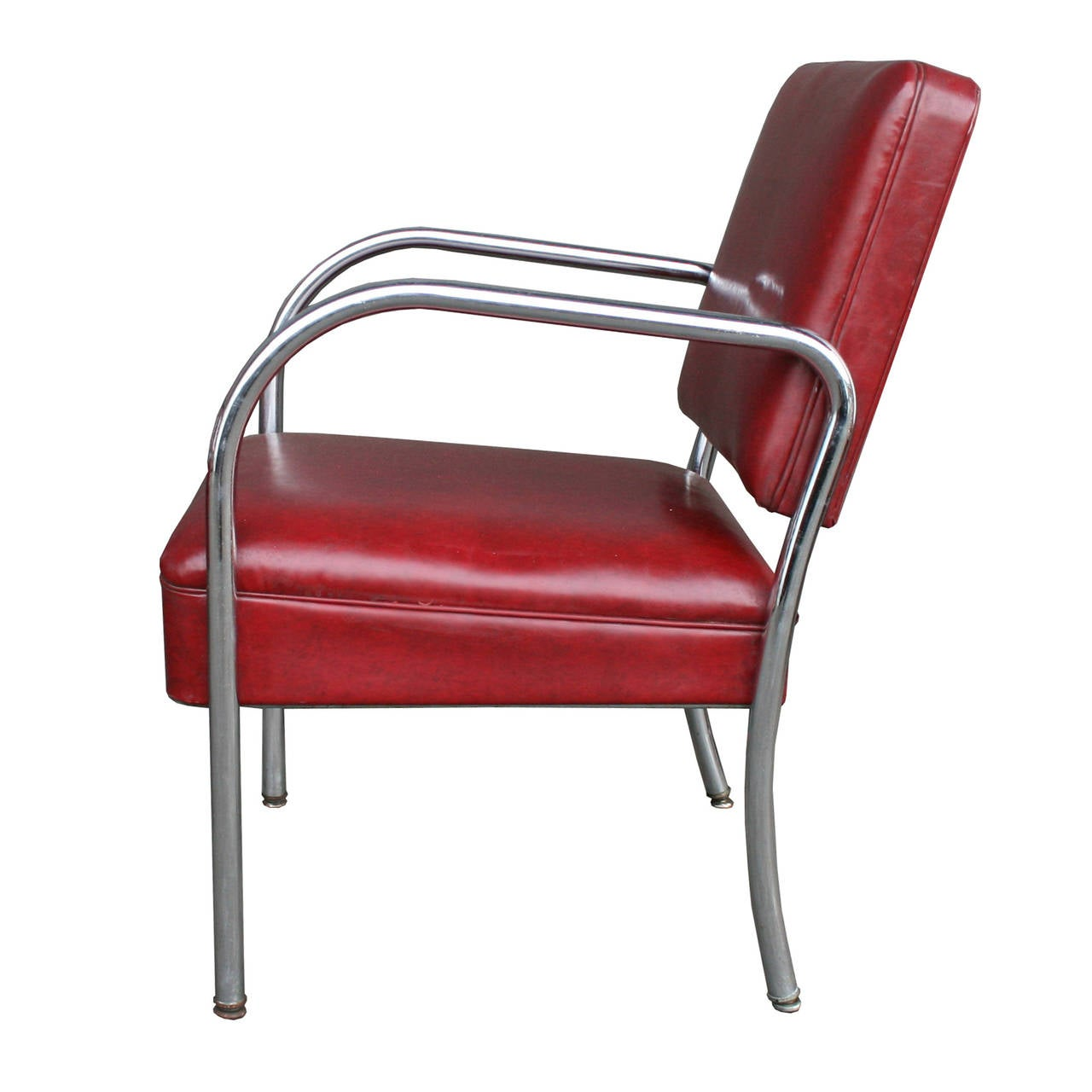 ... of Four Maroon Vinyl and Chrome Barber Shop Chairs C1945 at 1stdibs
