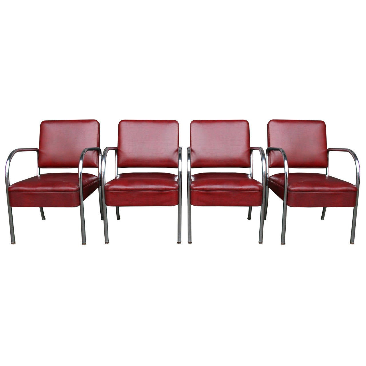 Barber Shop Furniture : ... of Four Maroon Vinyl and Chrome Barber Shop Chairs C1945 at 1stdibs