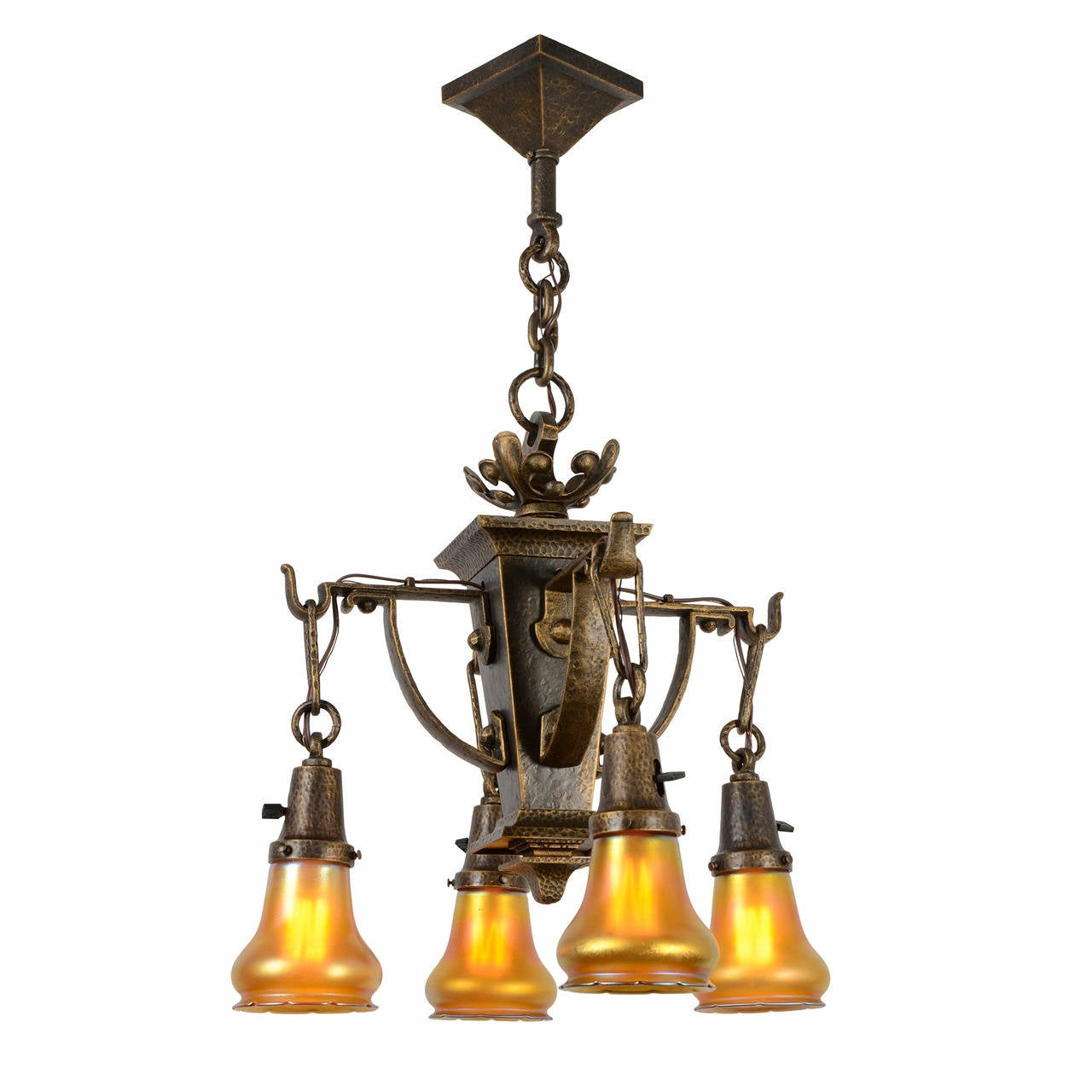 Ornate American Arts and Crafts Chandelier with Quezal