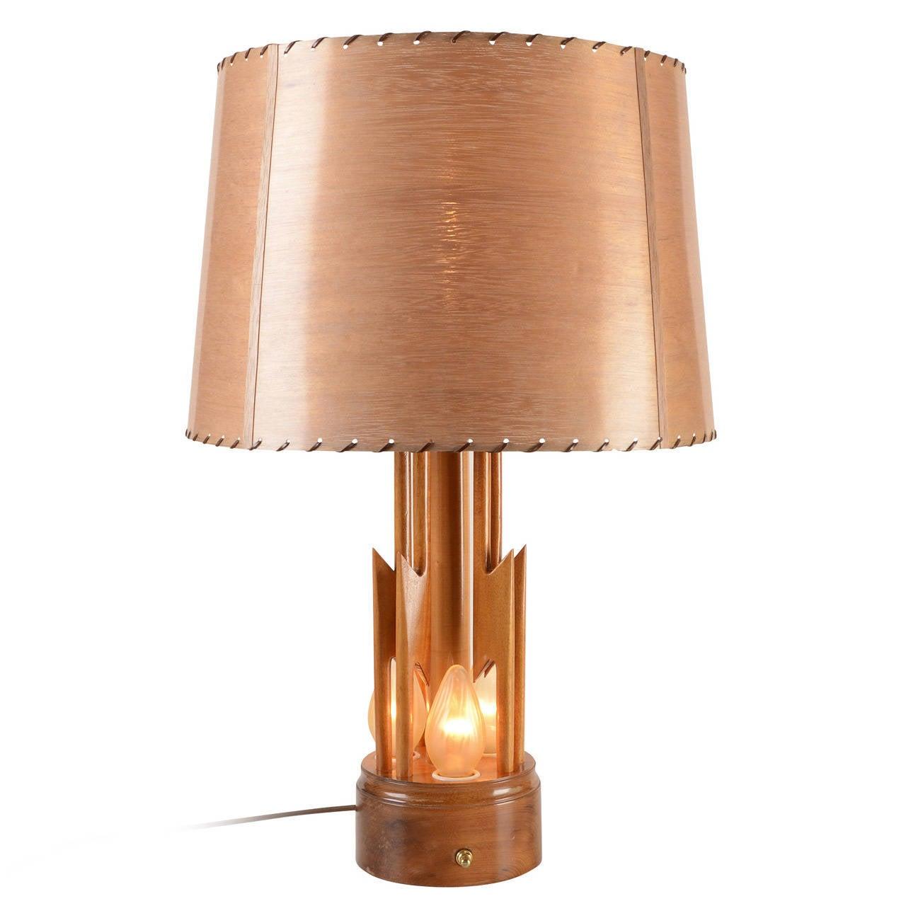 mid century wood lightning bolt table lamp circa 1950s at 1stdibs. Black Bedroom Furniture Sets. Home Design Ideas