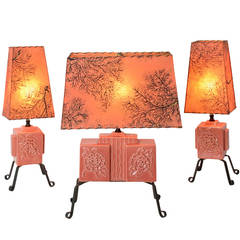 Trio of Sweet and Modern Rose-Colored Table Lamps, circa 1955