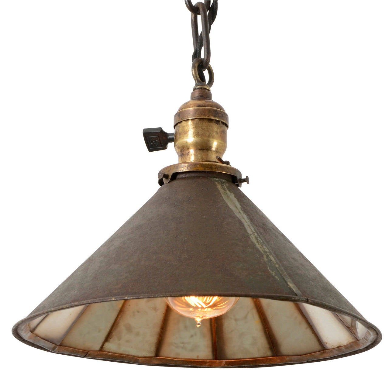 Industrial Chain Pendant Light With Mirror Reflector Shade