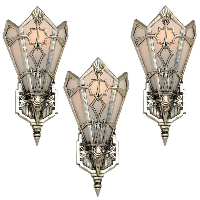 Set Of 3 High Style Aluminum Art Deco Sconces Or Wall Pockets, USA For
