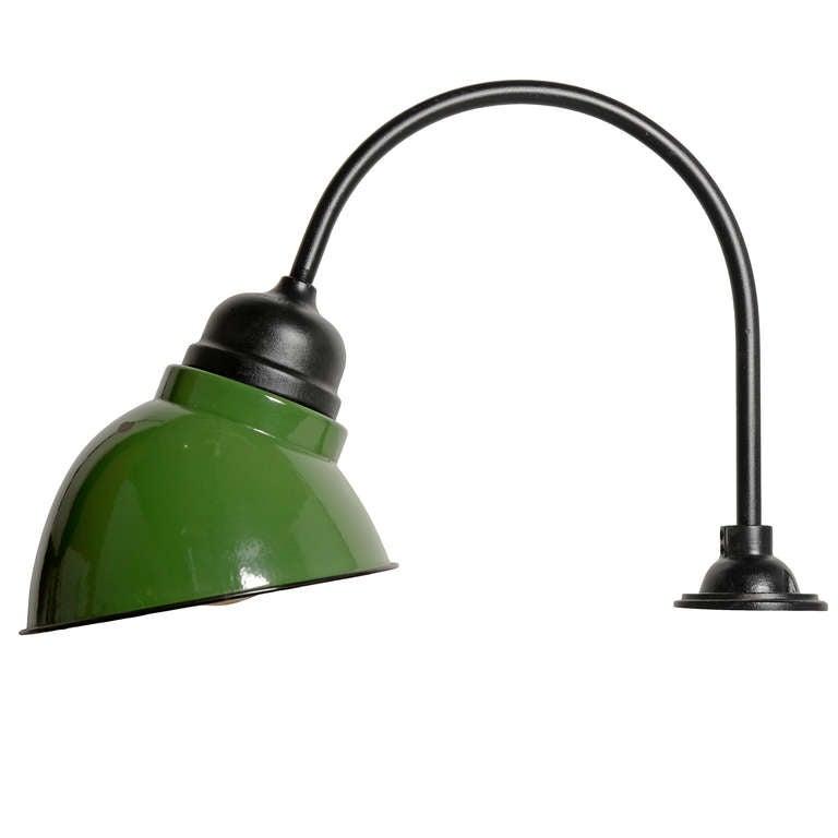 Set Of 3 Crouse-Hinds Green Enamel Industrial Gooseneck