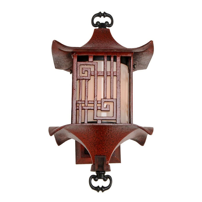Chinese Lantern Wall Lights : Quality Chinese-Themed Cast Wall Lantern in Antiqued Ming Red, USA, 1950s at 1stdibs