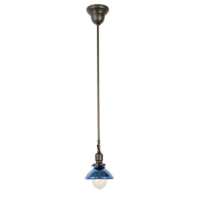 industrial pendant with mercury glass shade at 1stdibs
