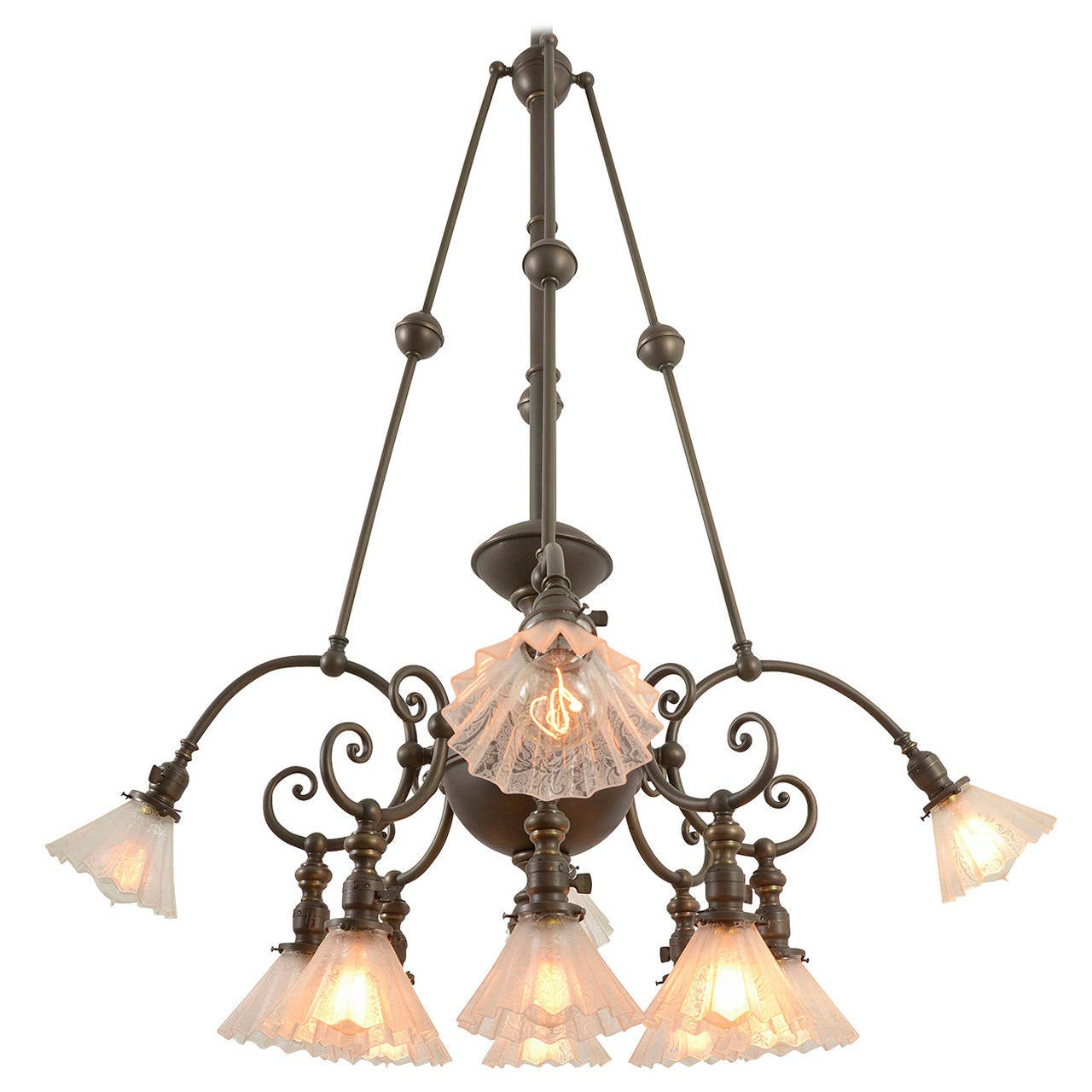 Rare and remarkable twelve light commercial chandelier circa 1905 rare and remarkable twelve light commercial chandelier circa 1905 1 arubaitofo Choice Image