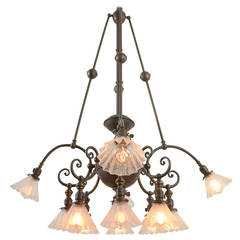 Rare and Remarkable Twelve-Light Commercial Chandelier, circa 1905