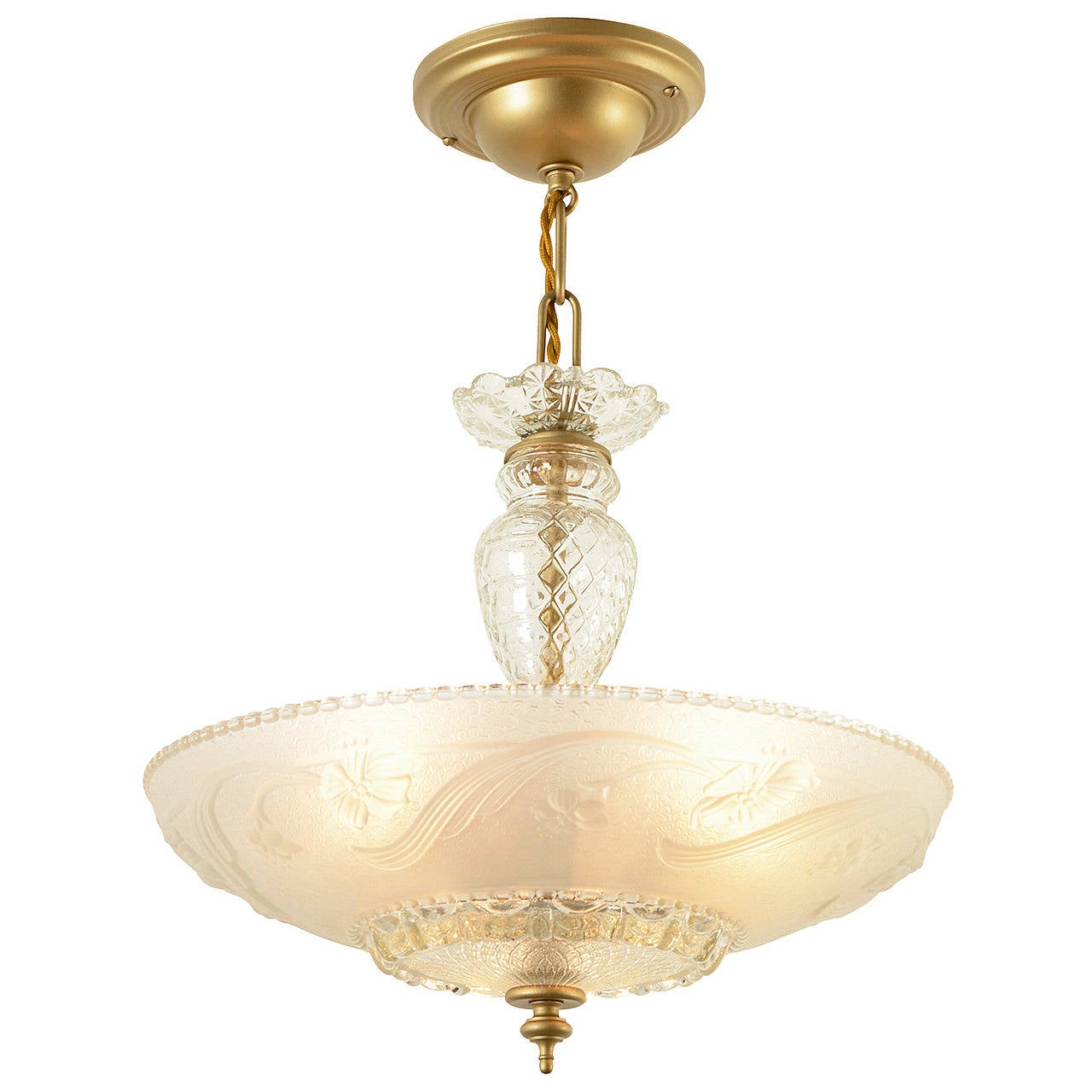 large glass bodied center post bowl chandelier circa 1940 at 1stdibs