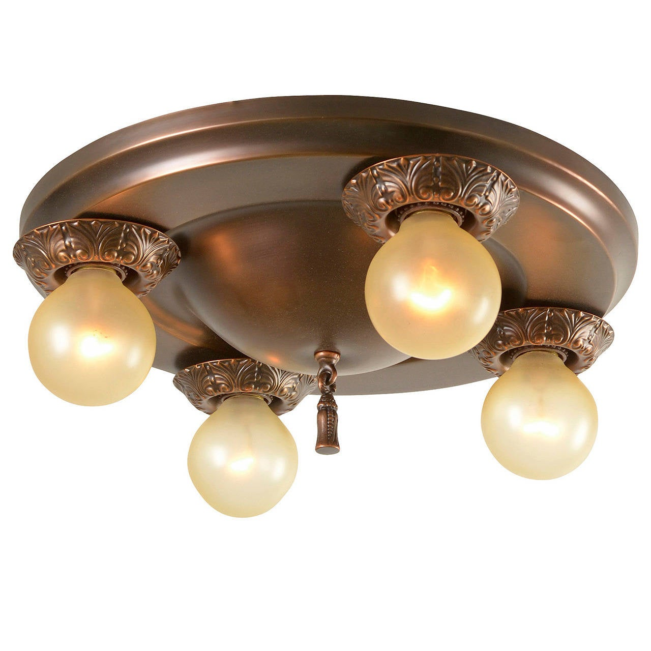 Simple Four Light Flush Pan Fixture Circa 1920 At 1stdibs