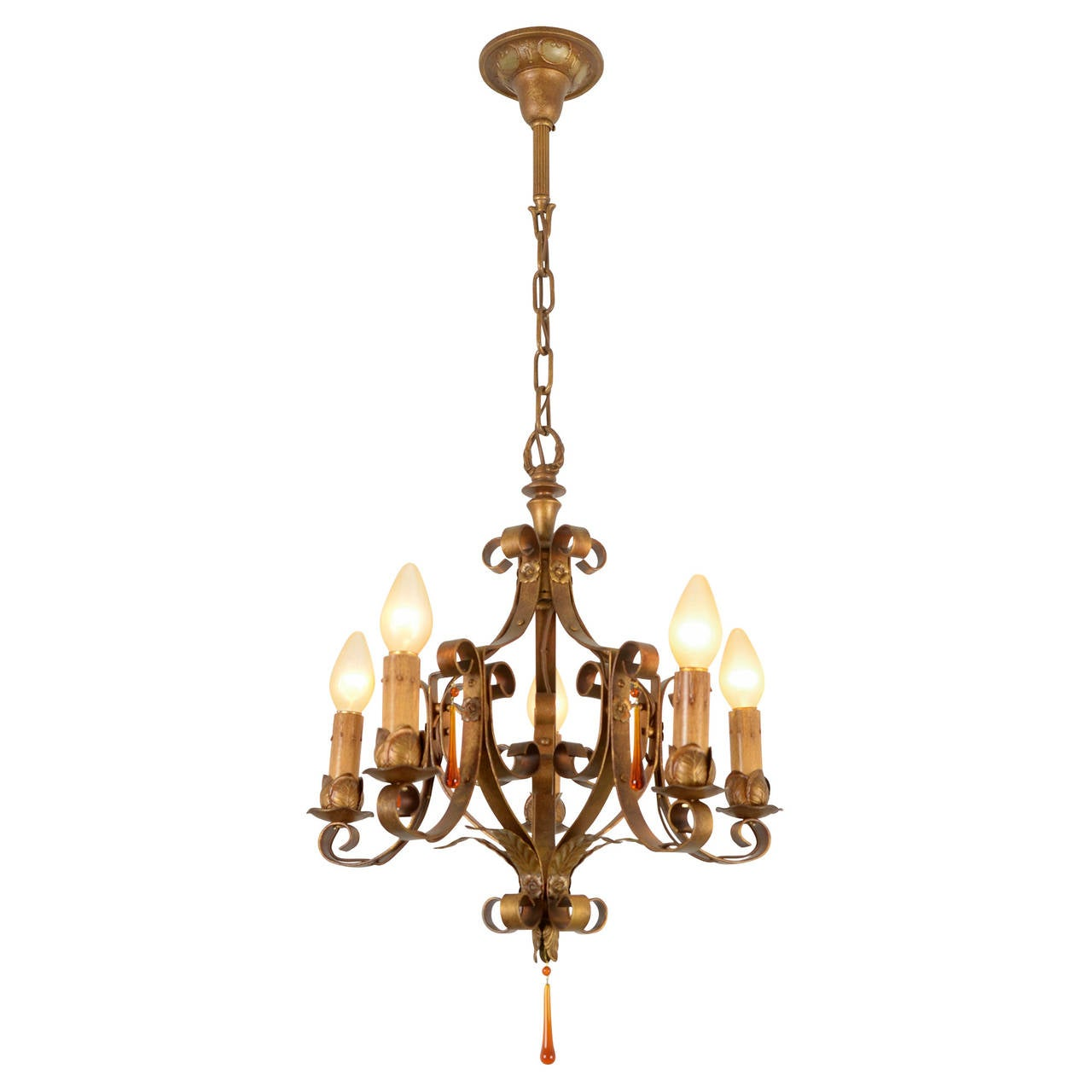 Revival style polychrome five light strap chandelier circa 1925 at 1stdibs - Circa lighting chandeliers ...