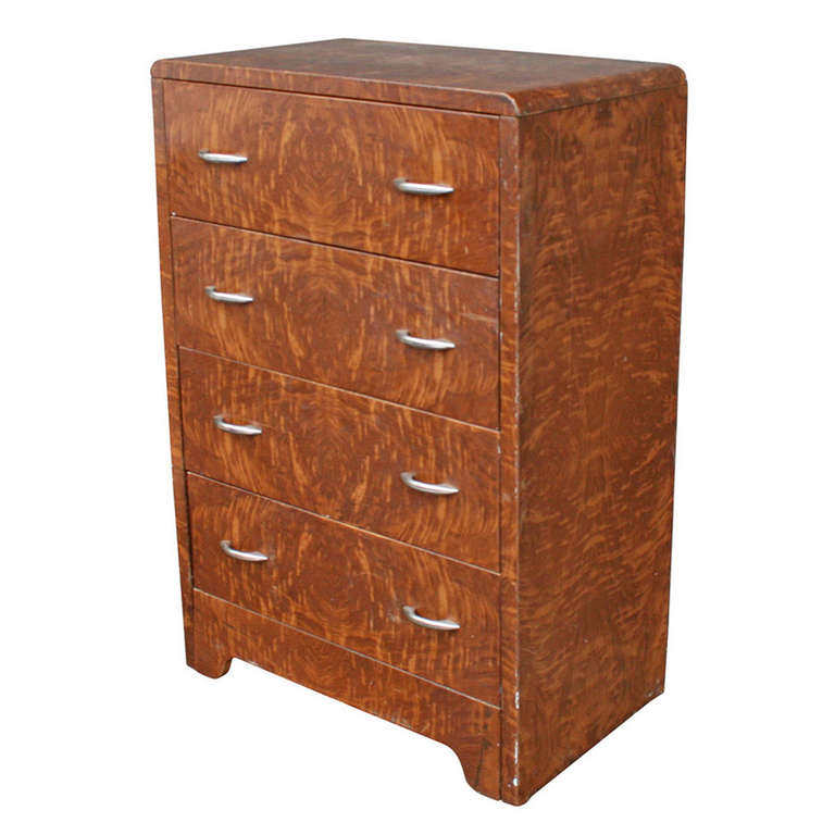 Industrial Simmons Faux Wood Grain Metal Dresser, Circa 1930s For Sale