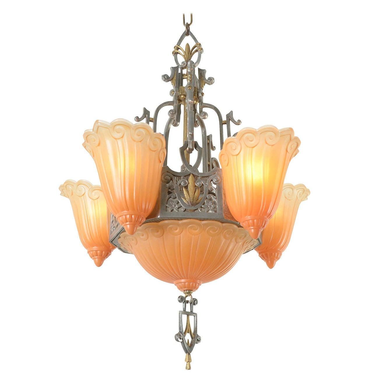 Six Light Sears Fleur De Lis Chandelier By Lincoln Circa