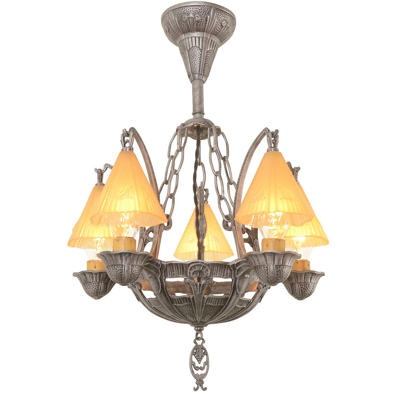 Romance Revival Semi Flush Chandelier With Smoke Bells
