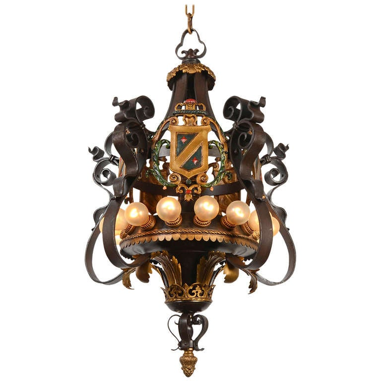 Tremendous Polychrome Wrought Iron 15 Lamp Historic