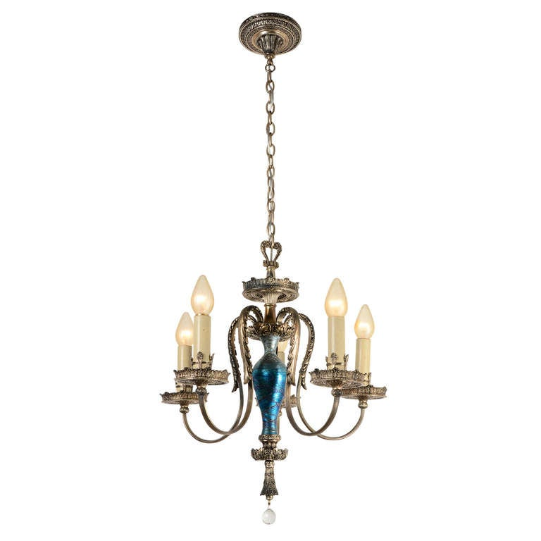 Abundant Silver Classical Revival Chandelier With Art