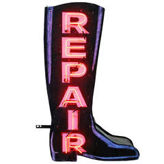 Magnificent Double-Sided Neon Boot Repair Sign, circa 1940