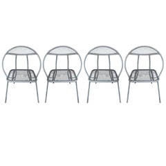 Set of Four Salterini-Style Clam Shell Folding Chairs, circa 1960