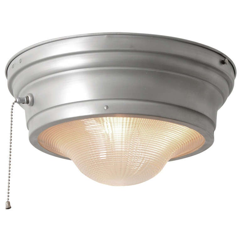 Industrial Flush Mount With Prismatic Lens And Pull Chain