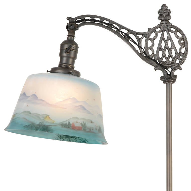 Ornate bridge floor lamp with reverse painted shade at 1stdibs for Ornate silver floor lamp