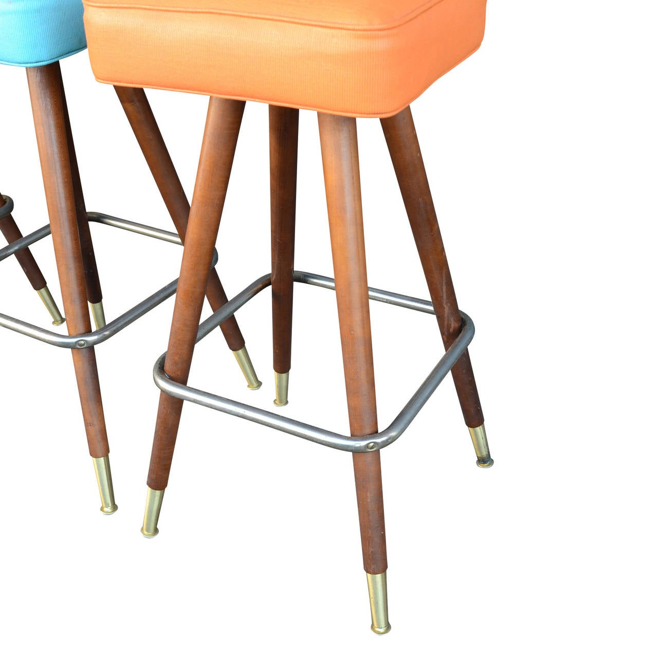 Set Of Four Atomic Age Kitchen Stools With Tapered Walnut