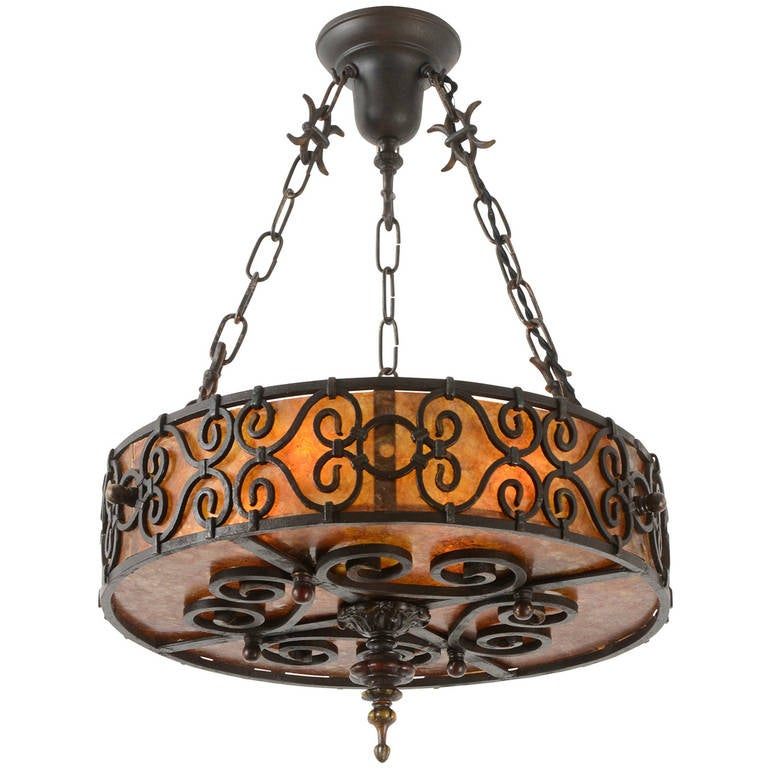 Spanish Revival Mica Drum Shade Chandelier Circa 1928 At