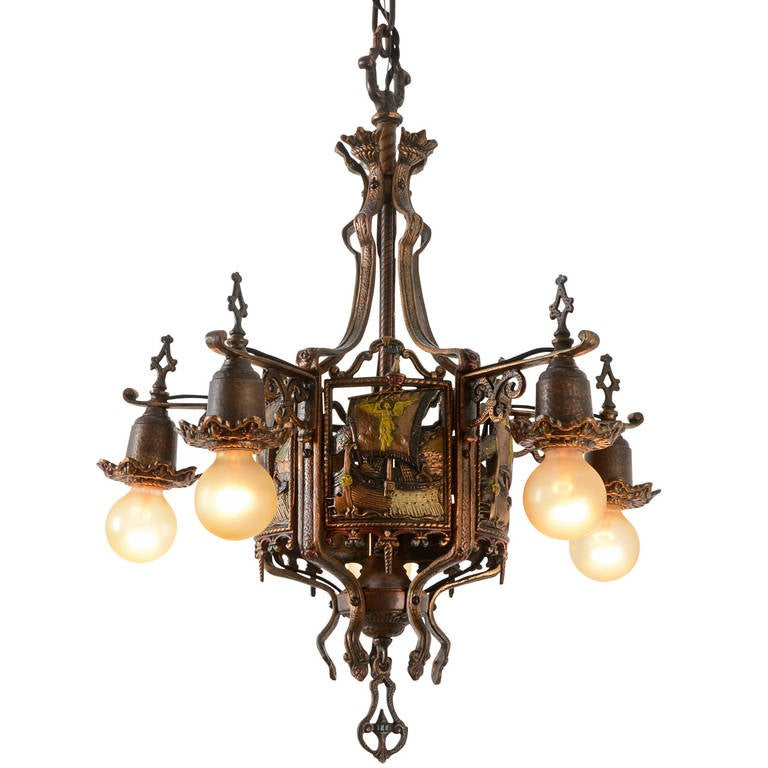 Stunning Romance Revival Chandelier With Viking Ship Motif